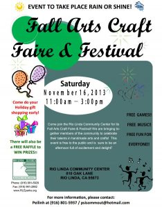 Rio Linda Fall Arts & Crafts Fair and Festival Nov. 16