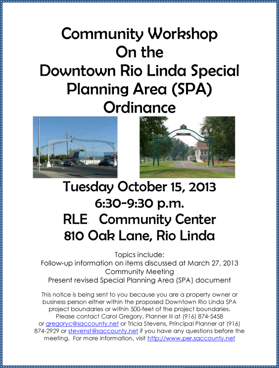 Rio Linda Visions Plan SPA Workshop Scheduled