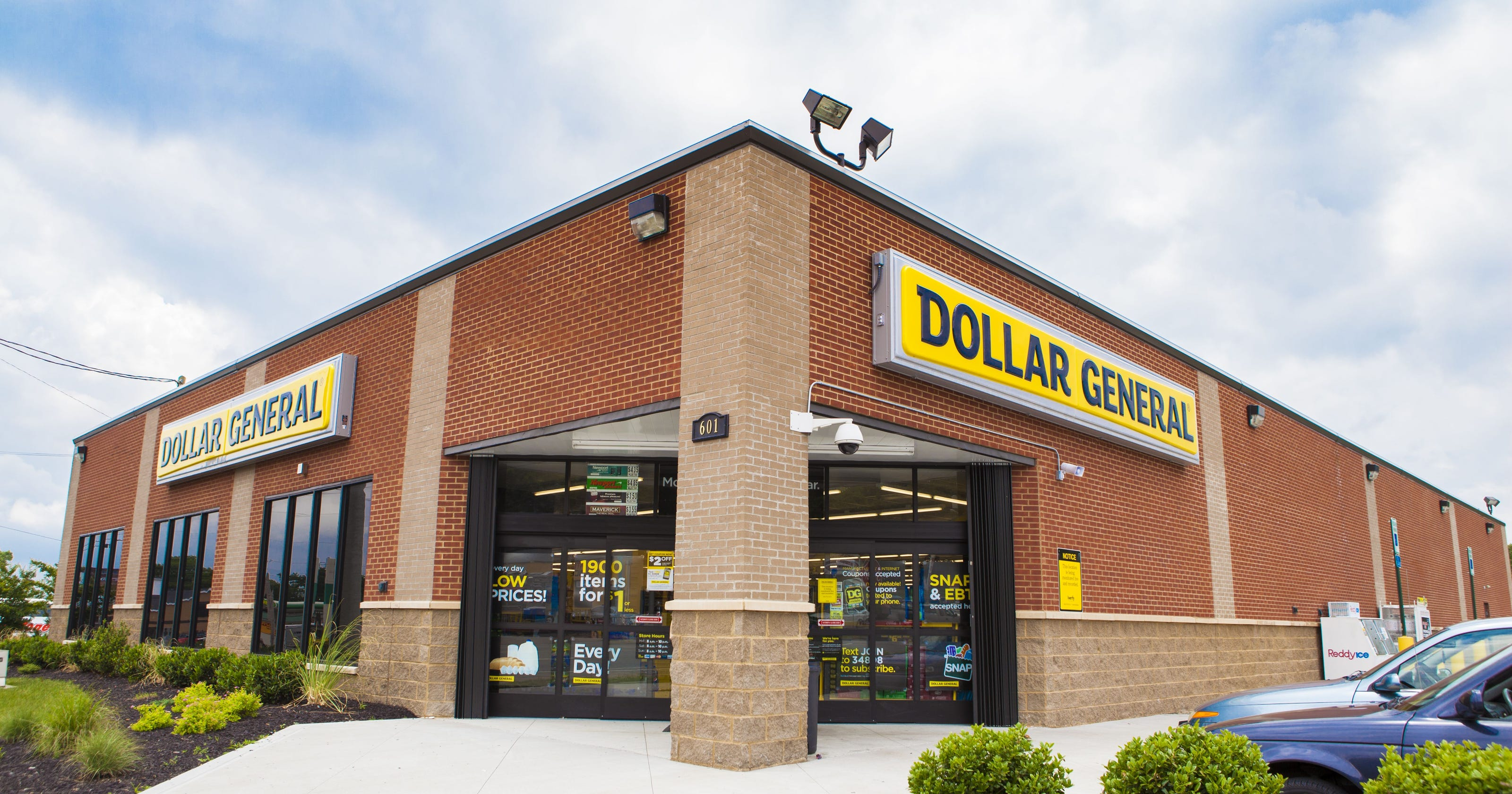 Corner entrance view of a Dollar General store.